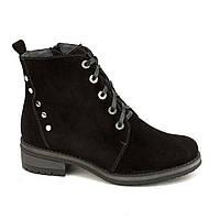 Женские замшевые ботинки на низком каблуке 37-40р