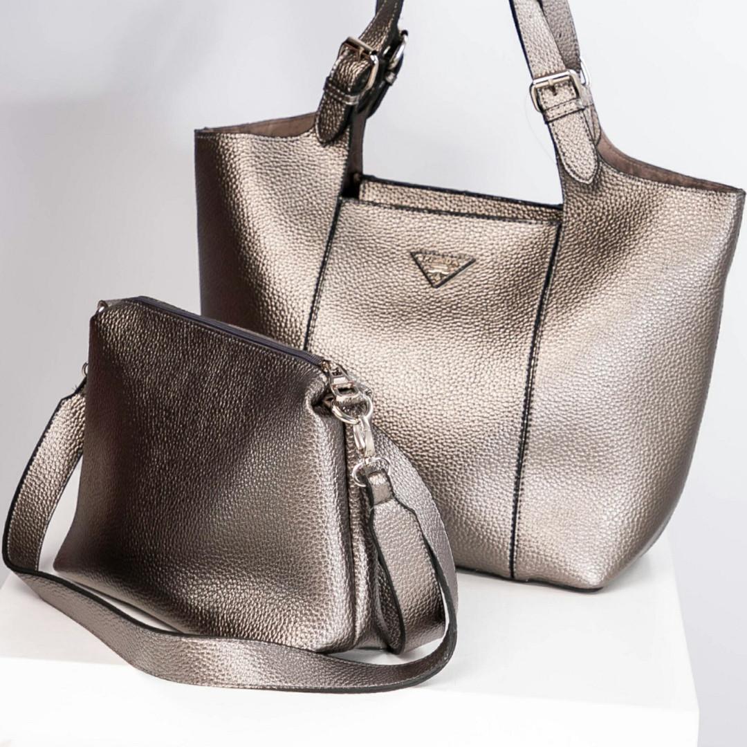d4cd03f5b410 Женская сумка 2 в 1 Prada (копия) темно-серебряного цвета, из искусственной  кожи