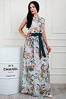 Длинное летнее платье из шифона голубое в принт размер 44-46, 48-50