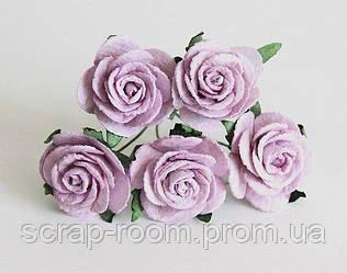Роза бумажная сиреневая диаметр 2,5 см, роза сиреневая, бумажная роза сиреневая 2,5 см, цена 1 шт