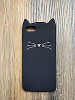 Объемный 3d силиконовый чехол для Huawei Y5 2018 Усатый кот черный