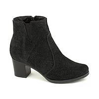 Женские замшевые ботинки на низком каблуке 38р