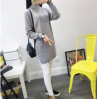 Женский трикотажный свитер-туника серого цвета опт, фото 1