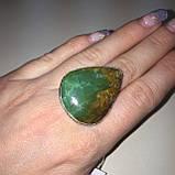 Красивое кольцо капля природный хризопраз в серебре 16,5-17 размер. Кольцо с хризопразом Индия!, фото 2