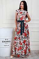 Шикарное платье в пол с красными розами размер 44-46, 48-50