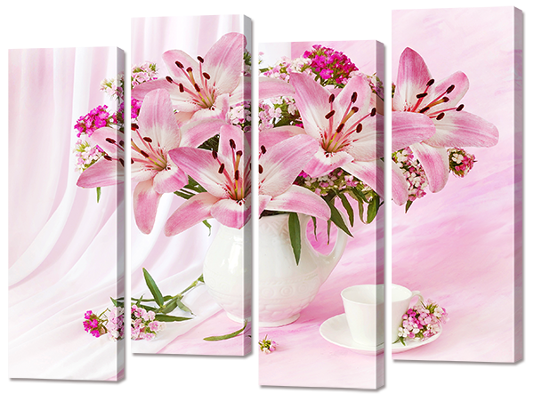Модульная картина Interno Холст Розовый букет 124х94см (R756L)