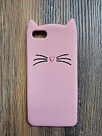 Объемный 3d силиконовый чехол для Huawei Y5 2018 Усатый кот розовый