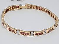 Золотой браслет с бриллиантами и гранатом. Артикул BCG610413K 19,5, фото 1