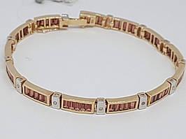 Золотой браслет с бриллиантами и гранатом. Артикул BCG610413K 19,5