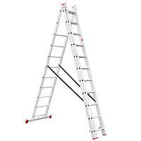 Лестница алюминиевая 3-х секционная универсальная раскладная  3*11 ступеней Intertool  LT-0311