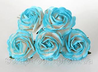 Роза бумажная бело-бирюзовая диаметр 2,5 см, роза бирюзовая с белым, бумажная роза бирюзовая, цена за 1 шт