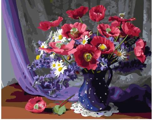 Картина по номерам Букет в синей вазе, 40x50 см., Brushme