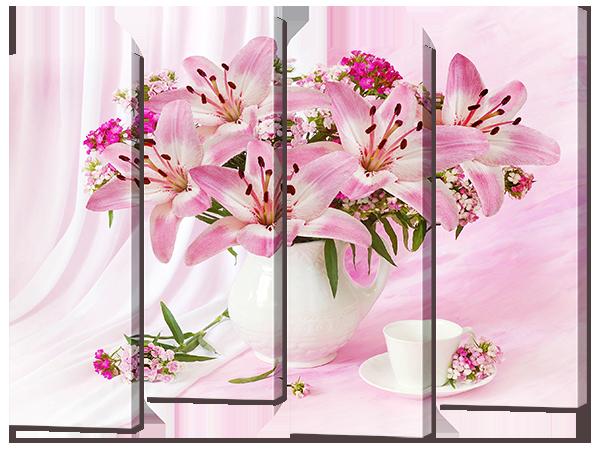 Модульная картина Interno Эко кожа Розовый букет 124х94см (A756L)