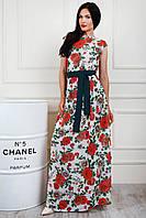 Нежное нарядное платье с цветочным принтом макси размер 44-46, 48-50