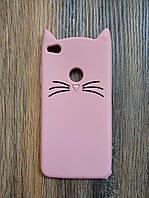Объемный 3d силиконовый чехол для Huawei P8 Lite 2017 Усатый кот розовый