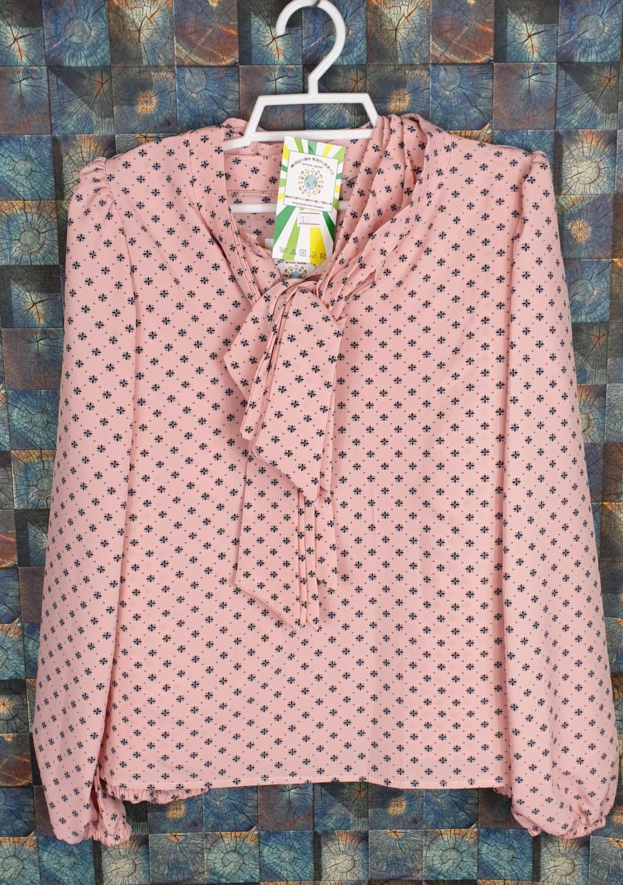 Блузка с длинным рукавом Бант 128-152 персик