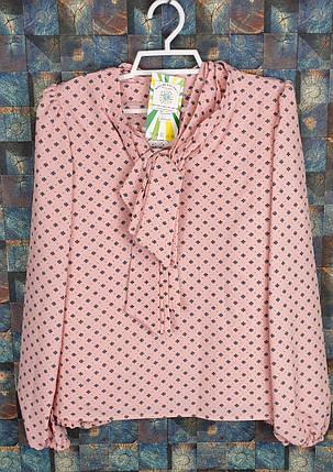 Блузка с длинным рукавом Бант 128-152 персик, фото 2