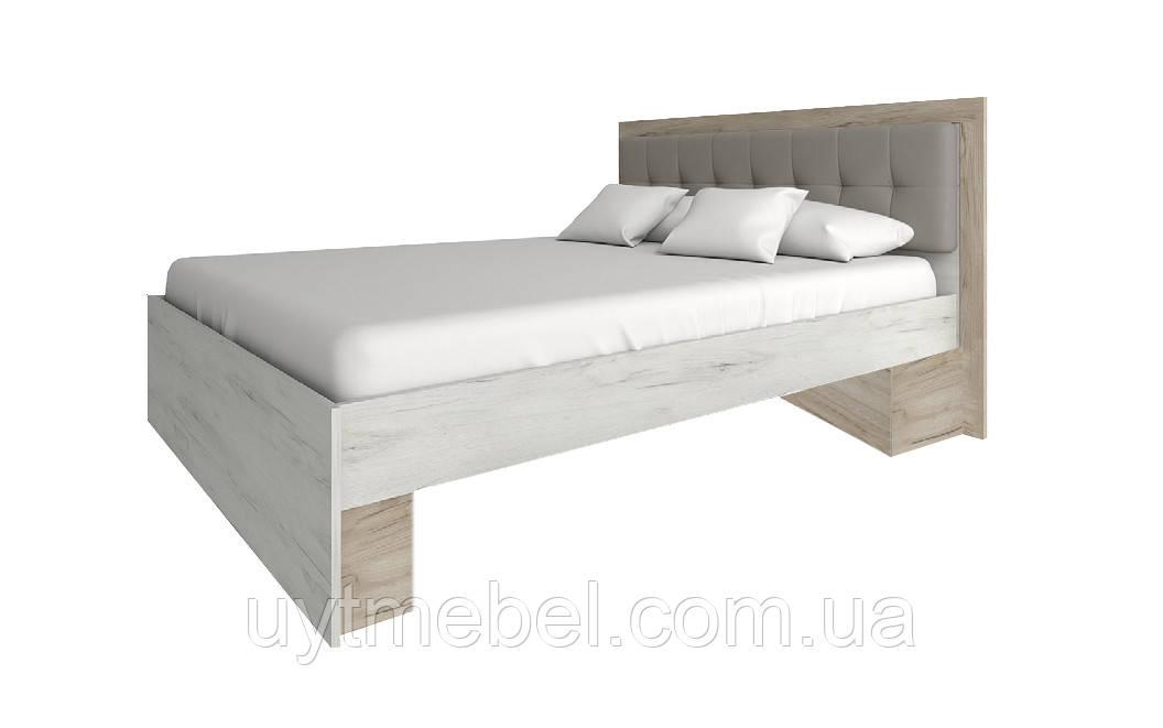 Ліжко Мілана 1600 +ламелі дуб крафт білий/сірий (Сокме)