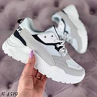 5fbf96d32 Женские белые кроссовки эко кожа и эко замш. Модные и стильные женские бело серые  кроссовки