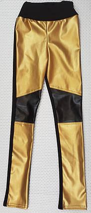 Подростковые лосины, легенцы р.134-152 чёрный+золото, фото 2