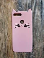 Объемный 3d силиконовый чехол для Huawei P Smart Усатый кот розовый