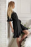 Черный льняной халат, фото 1