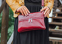 Кожаная сумка модель 28 бордо наплак, фото 1
