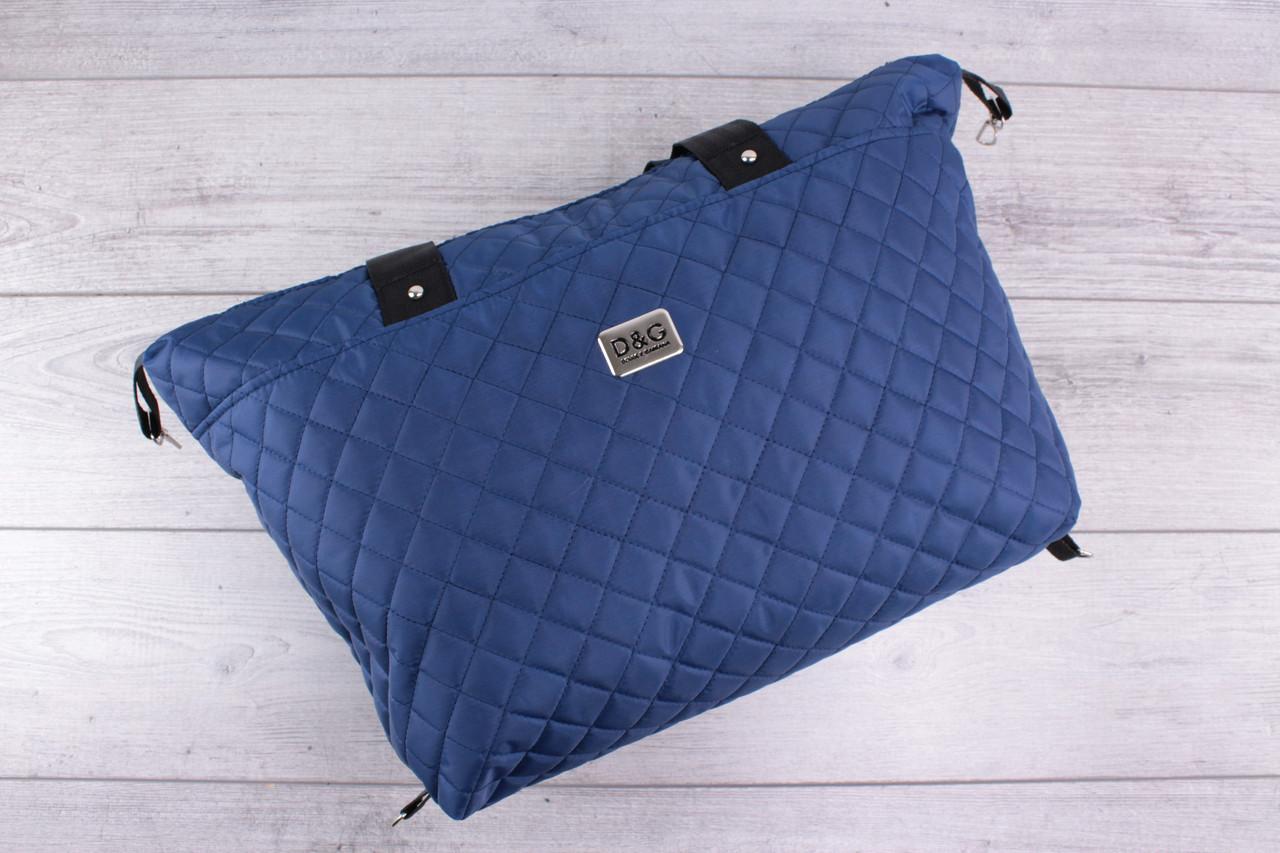 Женская сумка D&G Dolce & Gabbana (дольче габбана) - большая, синяя, стеганая