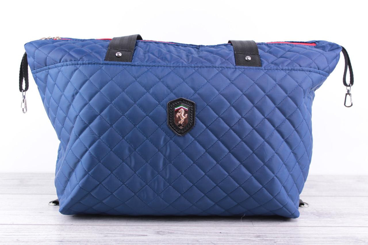 Женская сумка Ferrari (феррари) - большая, синяя, стеганая, с логотипом авто