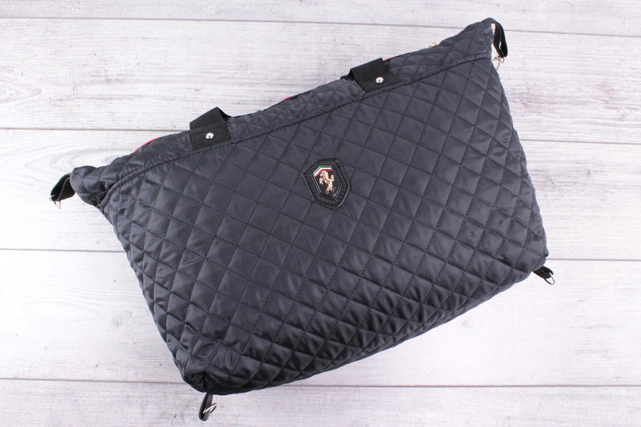 Женская сумка Ferrari (феррари) - большая, черная, стеганая, с логотипом авто