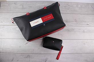 Женская сумка и кошелёк Tommy Hilfiger (томми хилфигер, томми джинс) - большая косметичка, черная, с логотипом