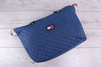 Женская сумка Tommy Hilfiger (томми хилфигер, томми джинс) - большая, стеганая, синяя, с логотипом