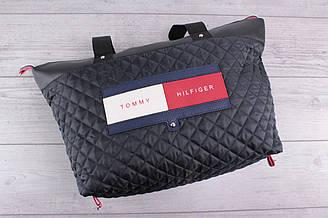 Женская сумка Tommy Hilfiger (томми хилфигер, томми джинс) - большая, стеганая, черная. с логотипом