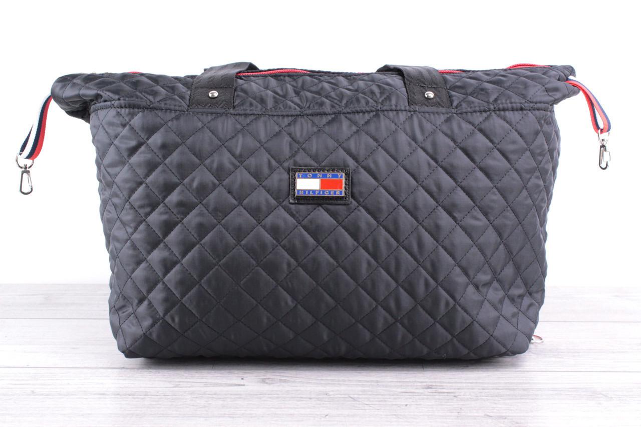 Женская сумка Tommy Hilfiger (томми хилфигер, томми джинс) - большая, стеганая, черная, с логотипом