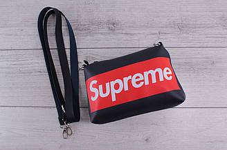 Сумка Supreme (суприм) - городская сумка на плечо, наплечная сумка, небольшая, с логотипом, синяя, темно-синяя