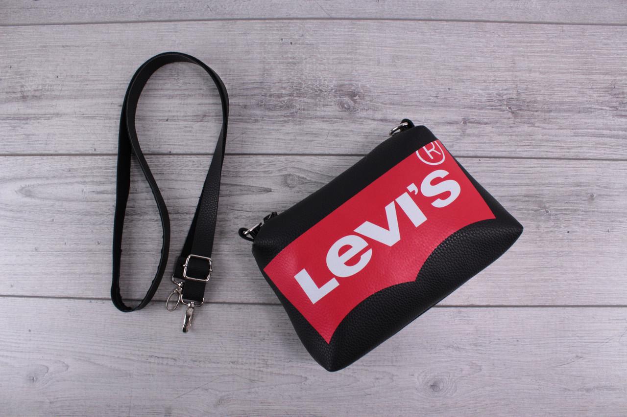 Сумка Levis (Левис) - городская сумка на плечо, наплечная сумка, небольшая, с логотипом, черная
