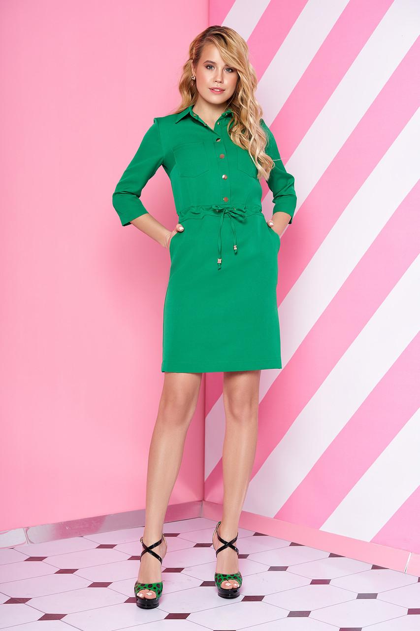 Стильное платье мини свободного кроя с поясом с воротником рукав три четверти светло зеленое
