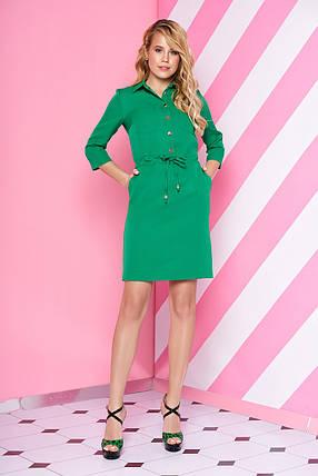 Стильное платье мини свободного кроя с поясом с воротником рукав три четверти светло зеленое, фото 2