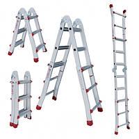 Лестница алюминиевая универсальная раскладная  телескопическая 4*4 ступени Intertool  LT-2044