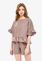 Пижама с рюшами цвета мокко, фото 1