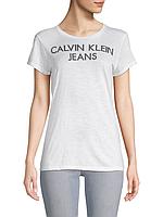 Женская белая хлопковая футболка Calvin Klein Jeans