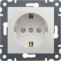 Розетка с заземлением со шторками (белый) Hager Lumina-2