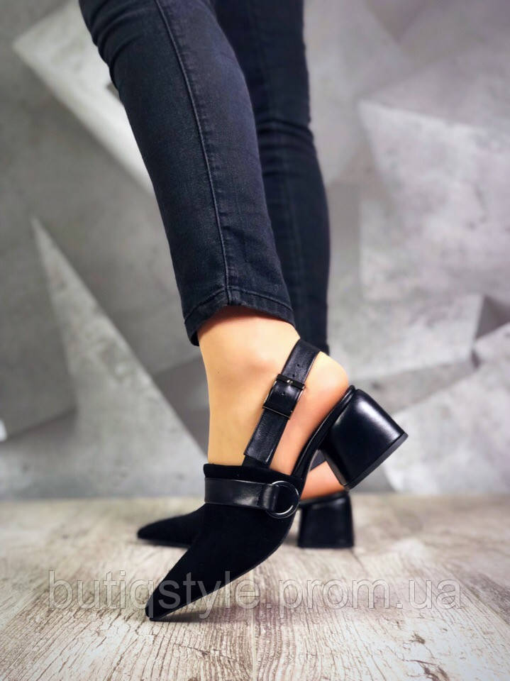 Женские черные туфли на небольшом каблуке натуральная замша + кожа