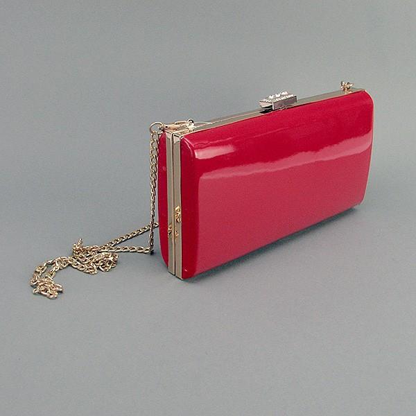 Клатч-бокс сумочка лаковая женская красная 8119