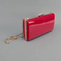 Клатч-бокс сумочка лаковая женская красная 8119, фото 1