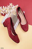 Туфли женские бордовые - марсала эко-замш на маленьком каблуке 3 см