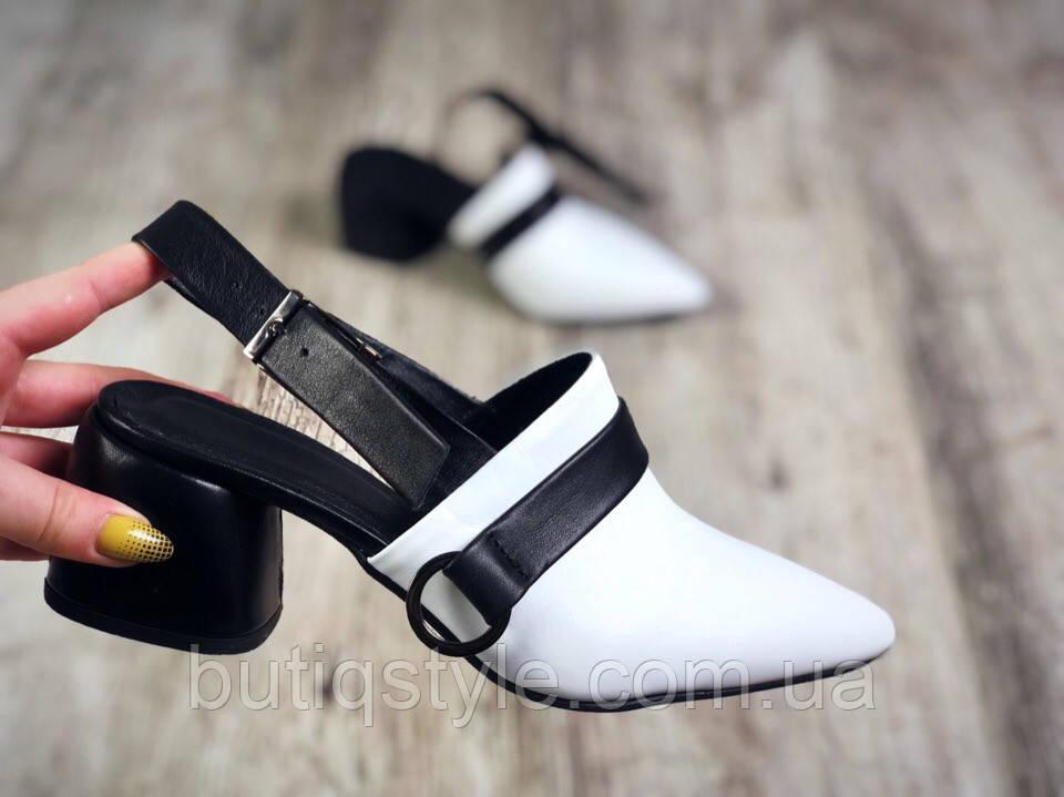 Женские туфли белый+черный на небольшом каблуке натуральная кожа