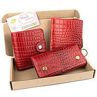 Подарочный набор №26: Кошелек София + обложка на паспорт + ключница (красный крокодил), фото 1