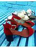 Босоножки на каблуке из натуральной замши красного цвета, фото 7