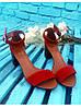 Босоножки на каблуке из натуральной замши красного цвета, фото 8